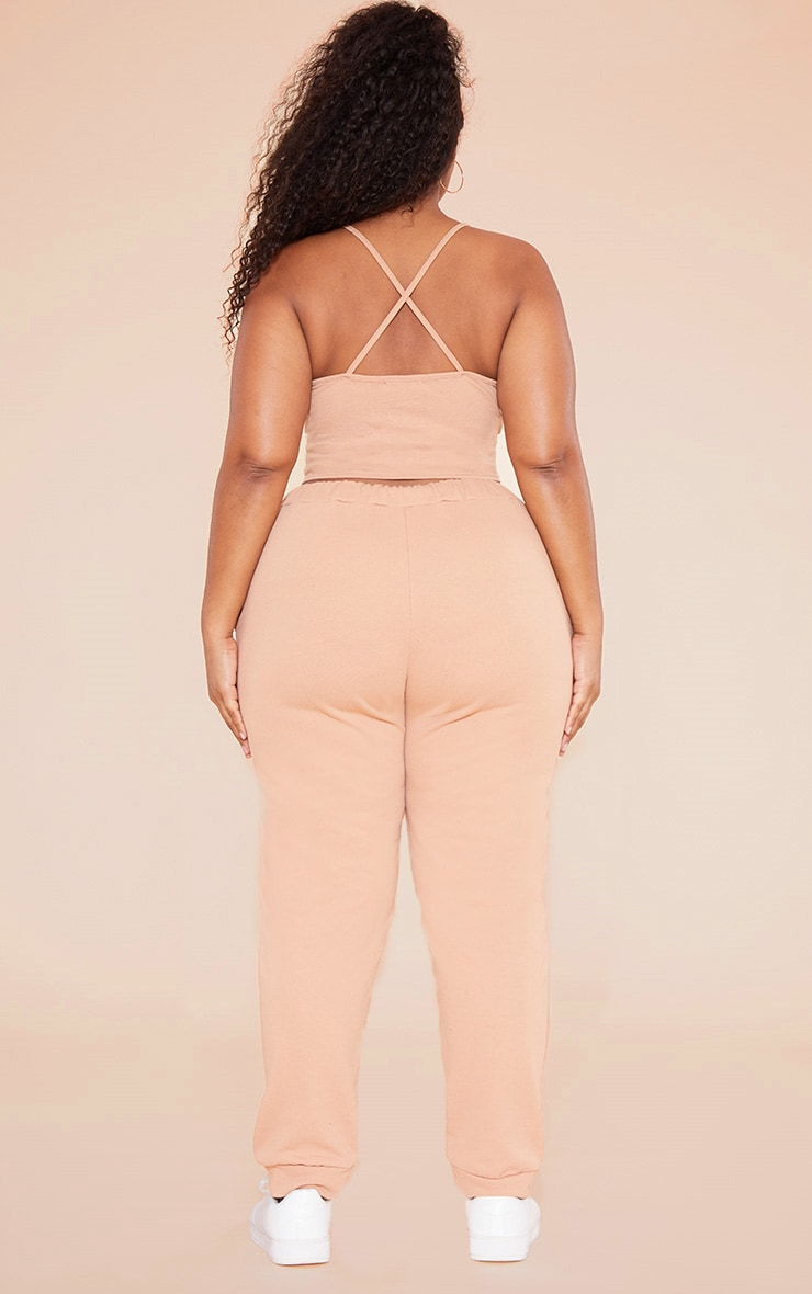 RECYCLED Plus Pale Tan 90s Neck Strappy Crop Top 5