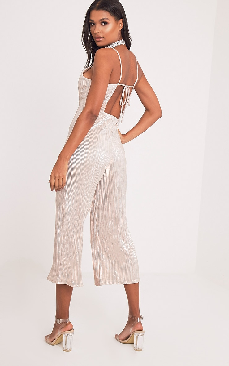 Lissy Gold Pleated Strappy Tie Back Jumpsuit 4
