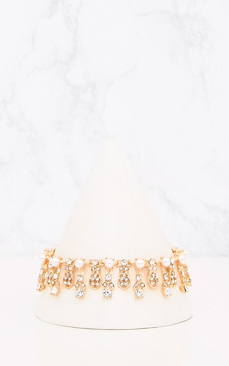 Mayna Gold Pearl Drop Choker  2