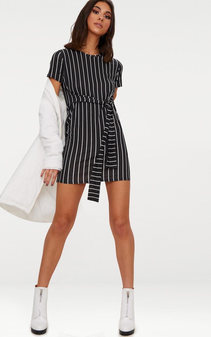 Black Stripe Tie Waist T Shirt Dress 4