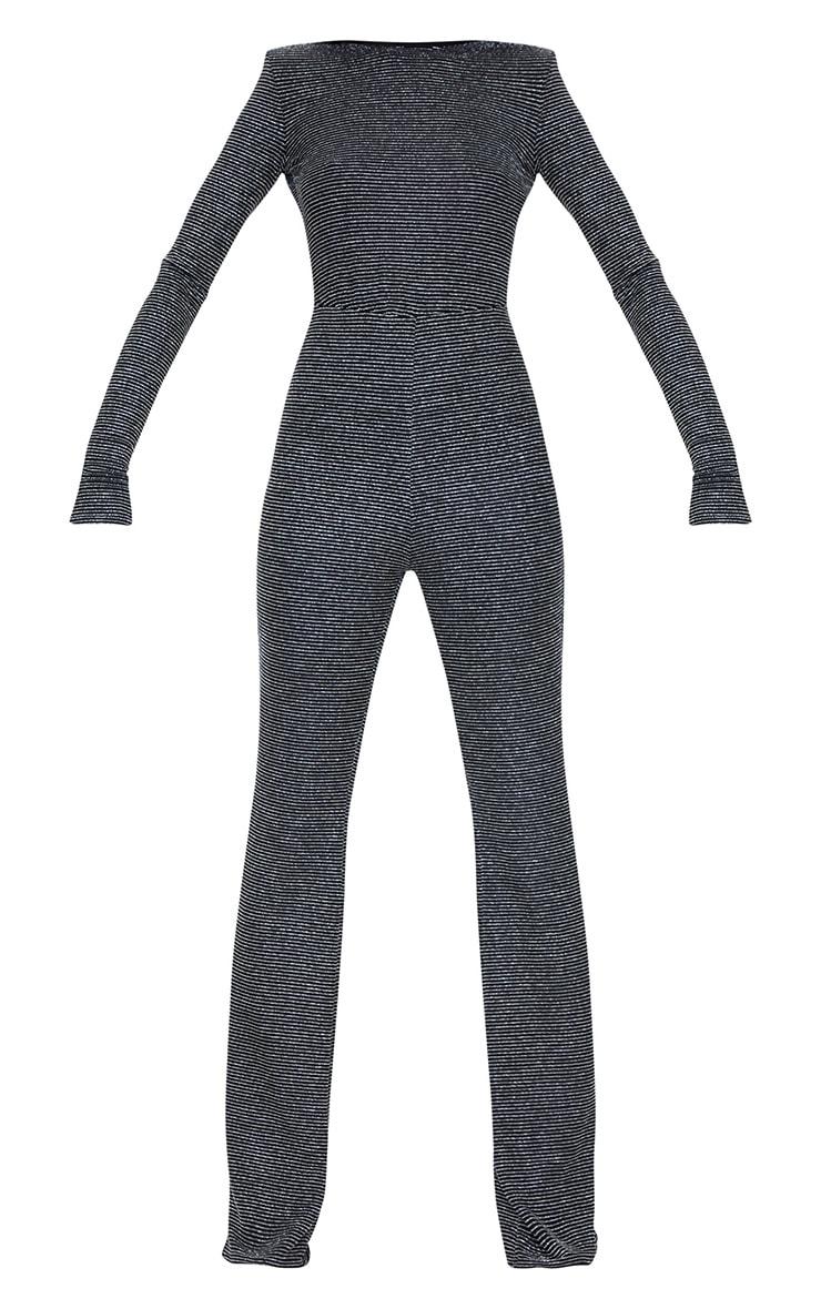 Tall Black Lurex Stipe Shoulder Pad Open Back Split Hem Jumpsuit 5