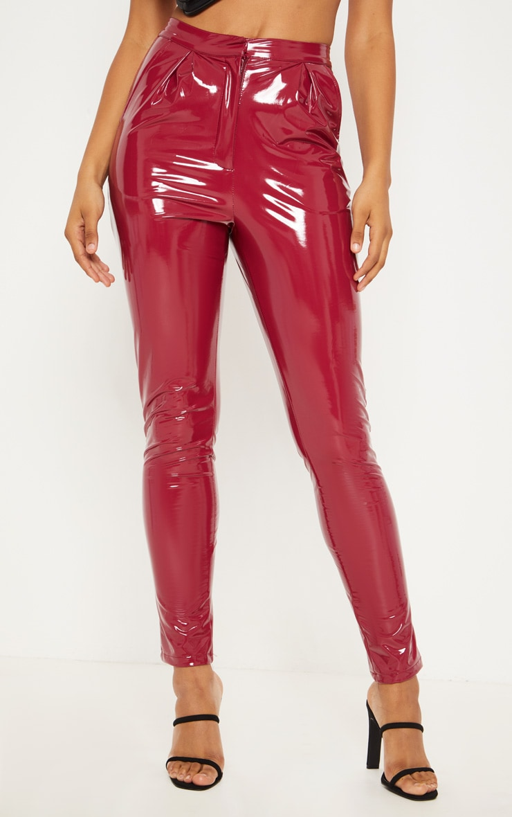 Tall Burgundy Vinyl Slim Leg Pants 2