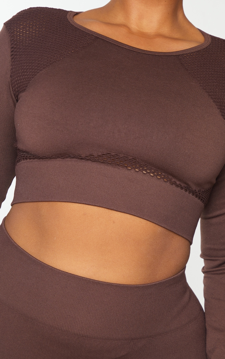 Plus Chocolate Cut Out Seamless Long Sleeve Top 4