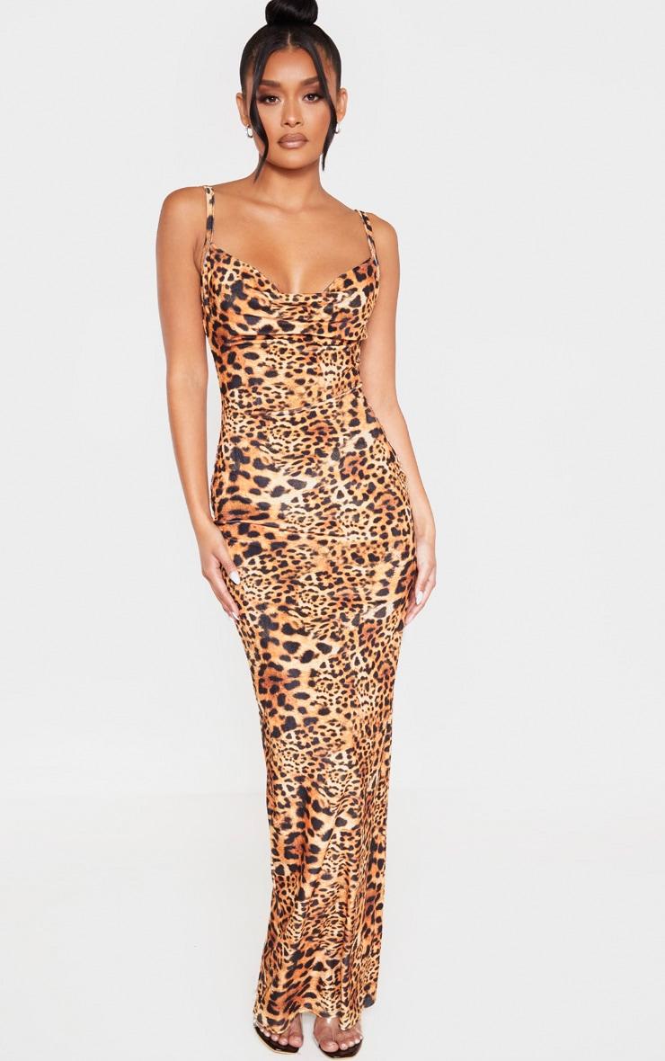 Tan Velvet Leopard Print Strappy Maxi Dress 1