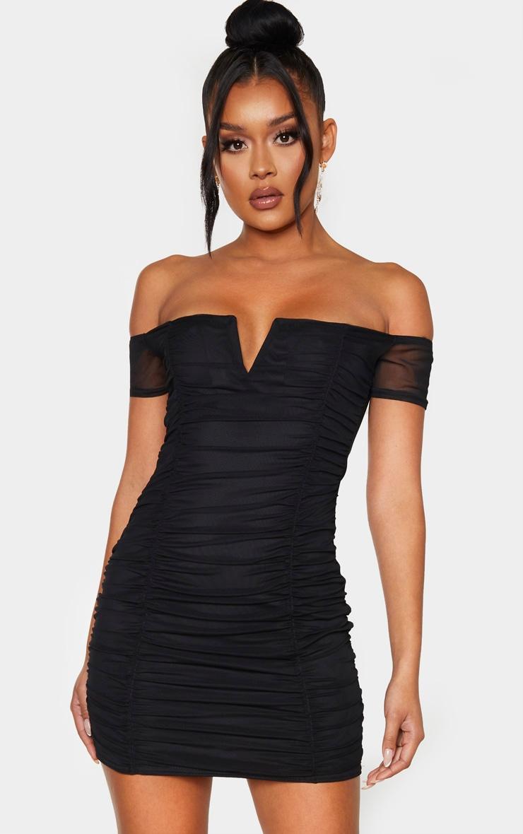 Black Mesh Ruched Bardot V Bar Detail Bodycon Dress 1