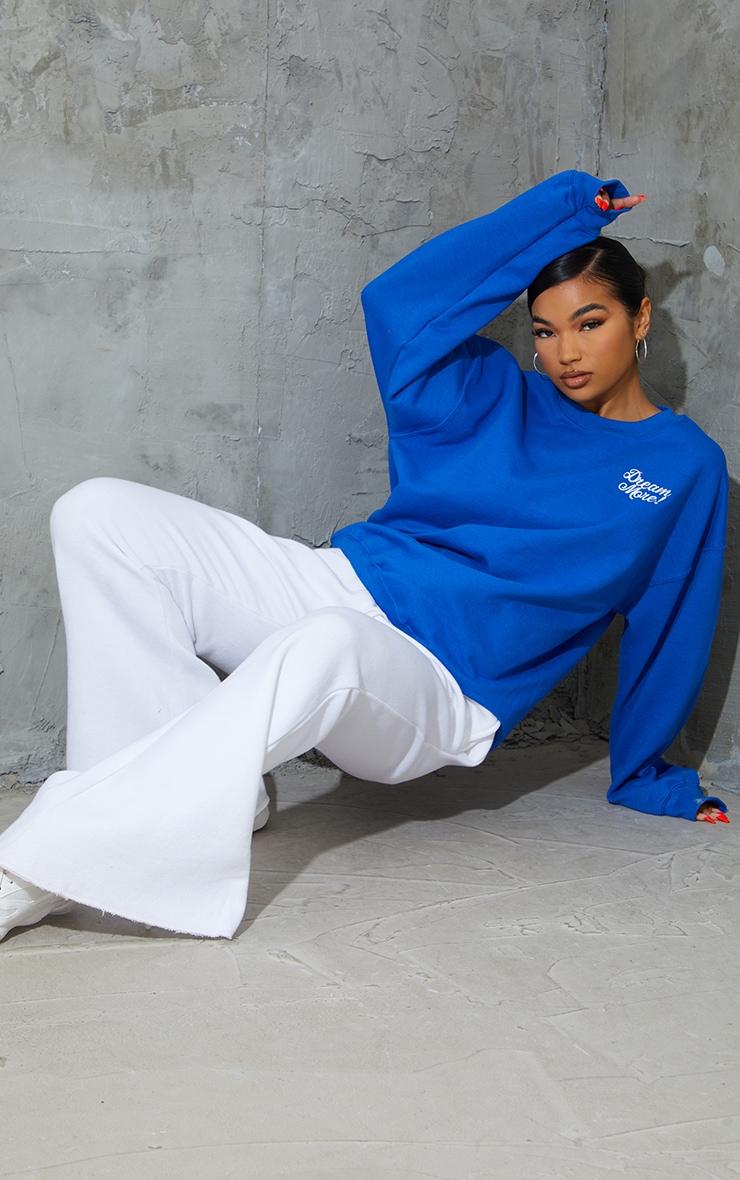 Cobalt  Dream More Slogan Embroidered Sweatshirt 3
