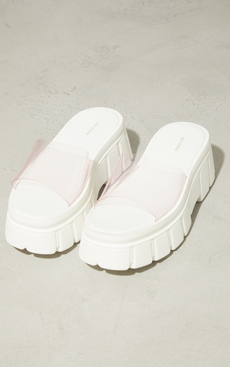 Pink Extreme Chunky Sole Clear Strap Sandals 3