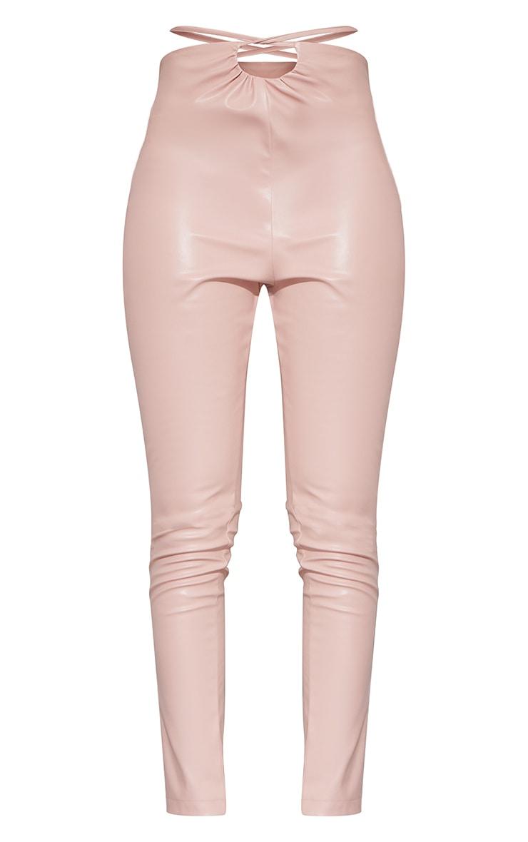 Tall Nude Ruched Waist PU Pants 5