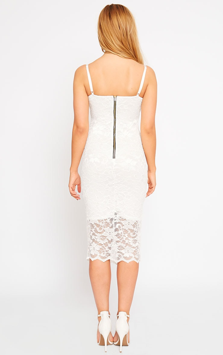 Adley White Lace Midi Dress 2