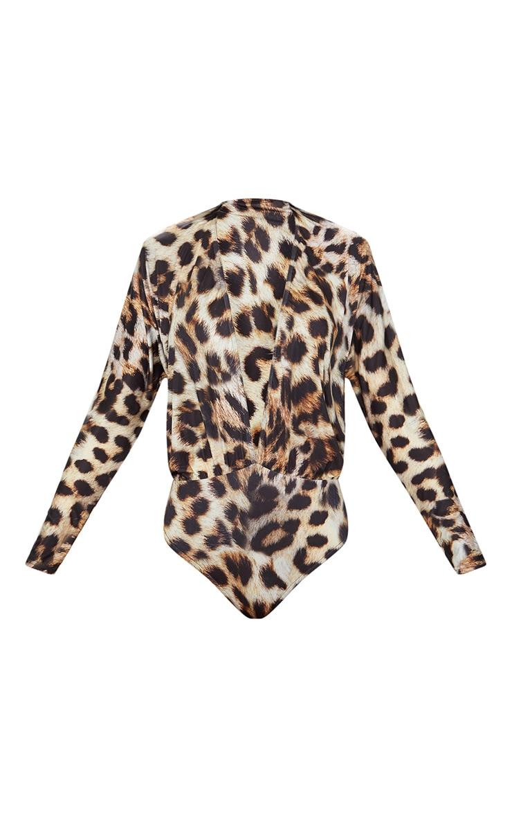 Tan Slinky Leopard Print Longsleeve Thong Bodysuit 3