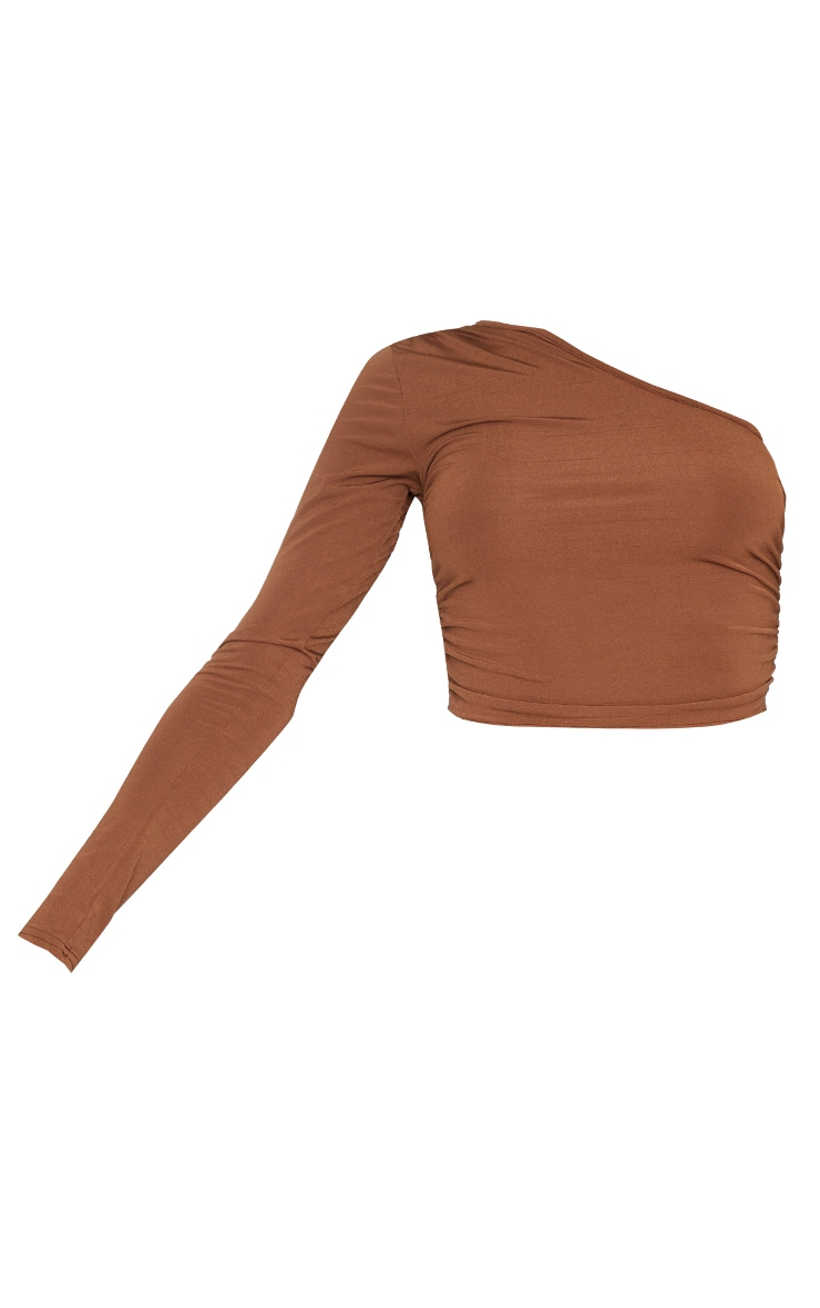 Chocolate Brown Ruched One Shoulder Long Sleeve Crop Top 5