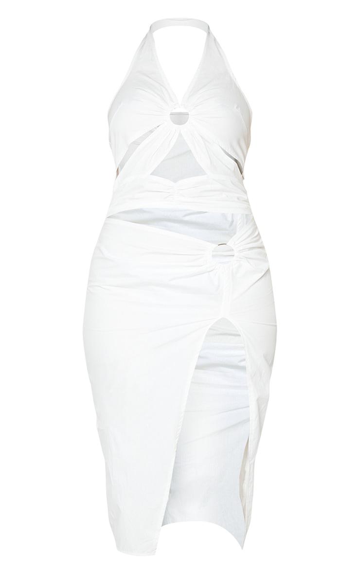 White Halterneck Ring Detail Cut Out Midi Dress 5