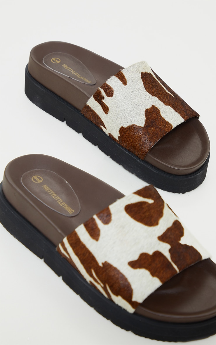 Cow Print Real Leather Footbed Chunky Mule Sandals 3