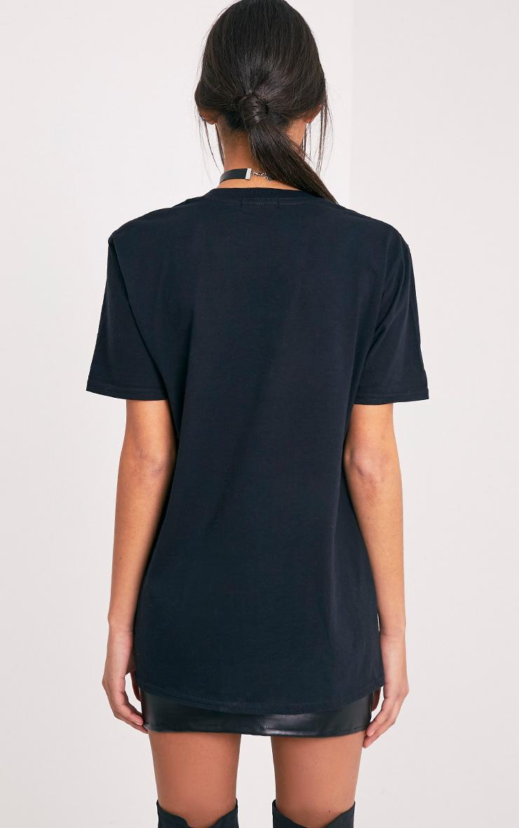 Maralee Black Oversized Holographic Foil Print T Shirt 2