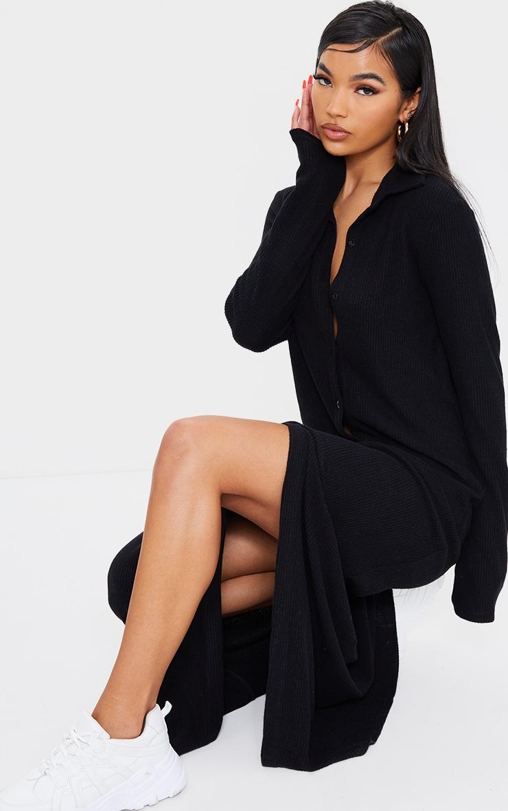 Black Brushed Rib Button Up Collar Detail Maxi Dress 3