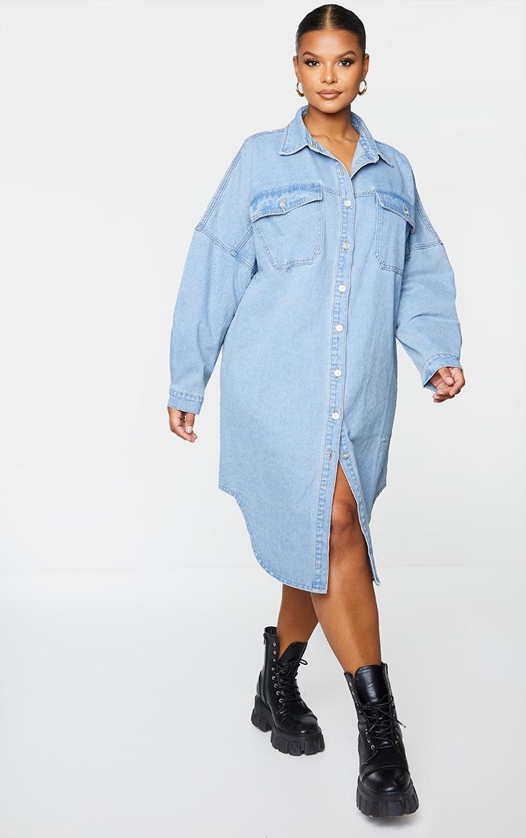 Plus Vintage Wash Longline Oversized Denim Shirt 3