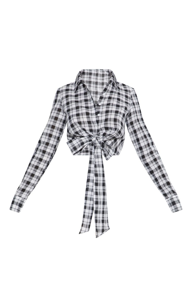 Black Crop Check Tie Front Shirt  3