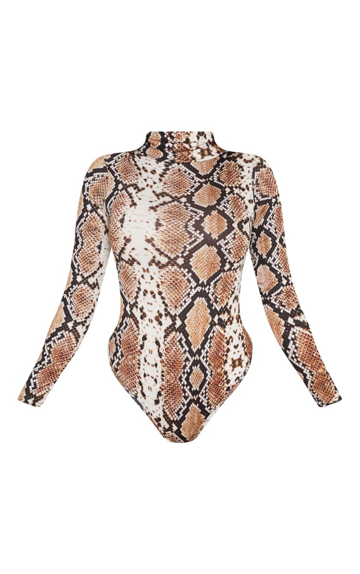 Tan Snake Print Roll Neck Long Sleeve Bodysuit 3