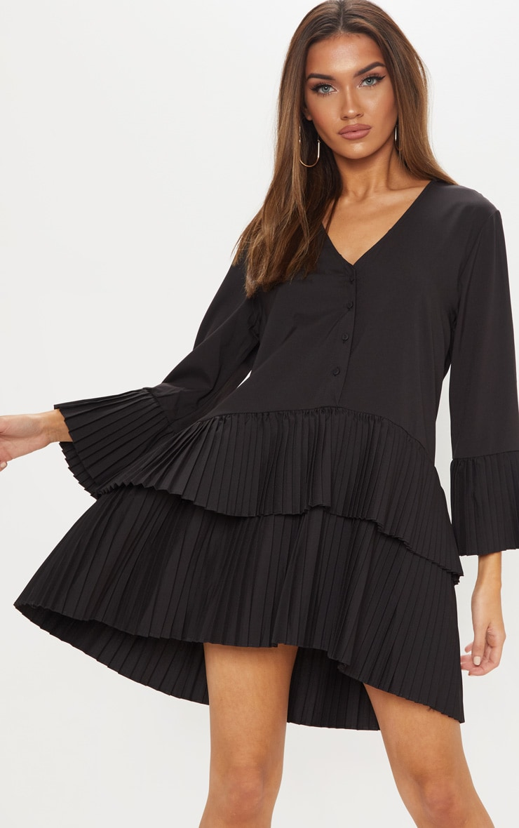 Black Button Tiered Smock Dress 1