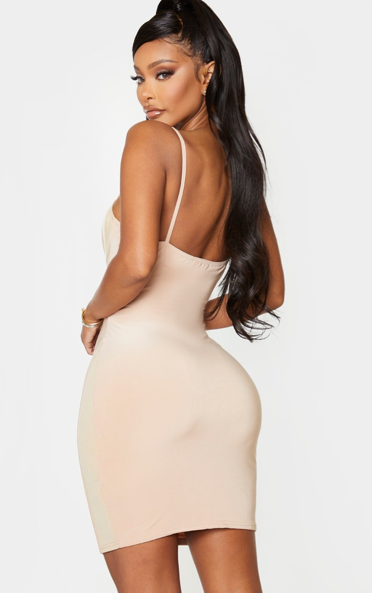 Shape Champagne Cup Detail Binding Bodycon Dress 3