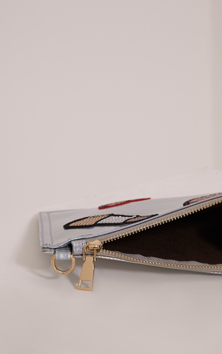 Carly Silver Holographic Patch Detail Clutch Bag 3