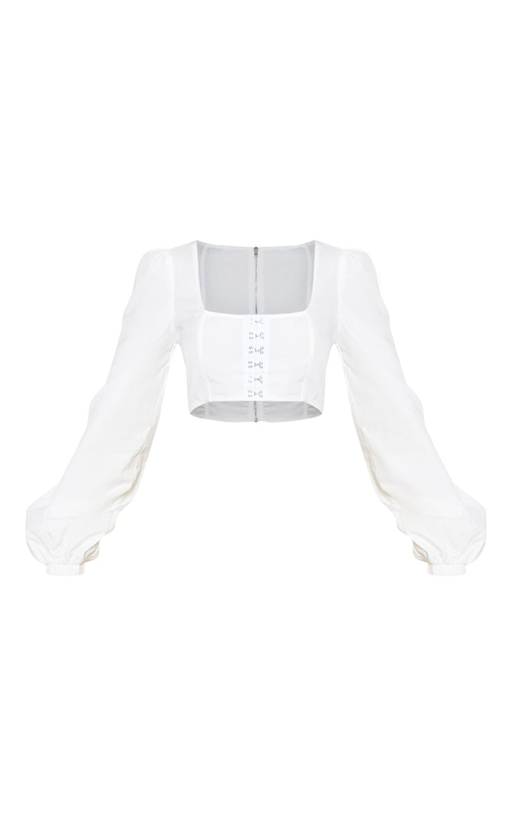 White Puff Sleeve Corset Detail Crop Top 4