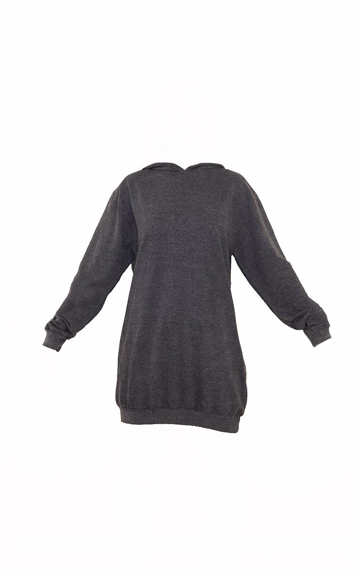 PRETTYLITTLETHING Slogan Charcoal Acid Wash Oversized Jumper Dress 5