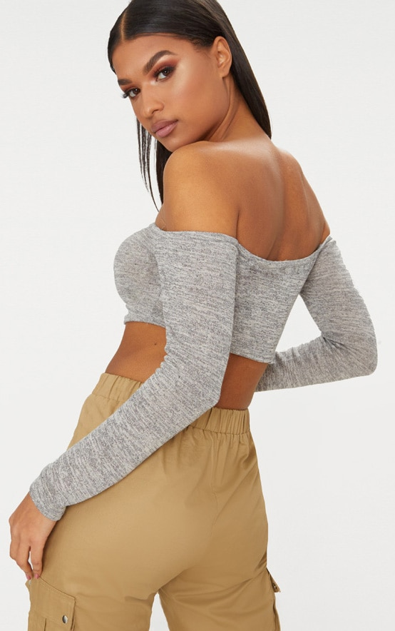 Grey Ruched Front Knit Top 2