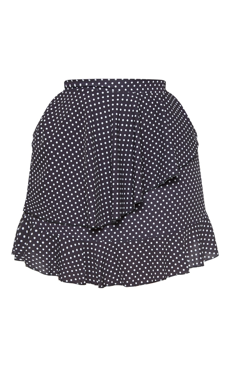 Plus Black Polka Dot Frill Detail Mini Skirt  3