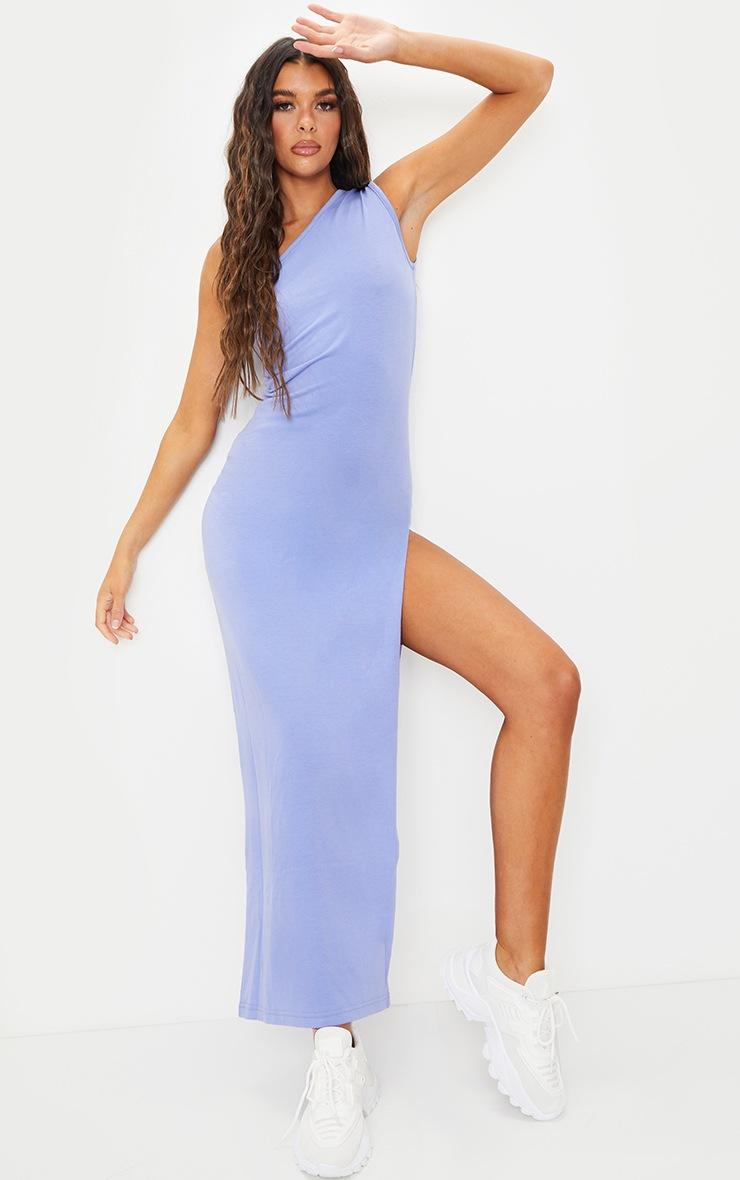 Purple One Shoulder Sleeveless Split Maxi Dress 3