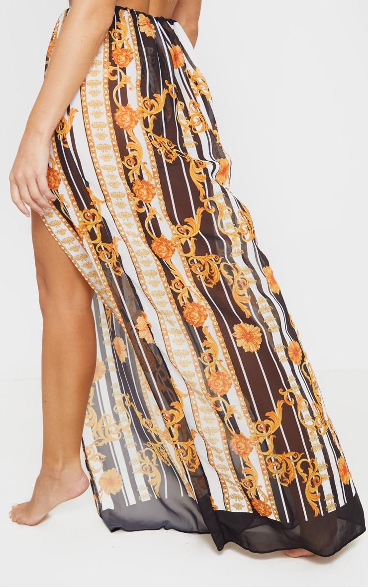 Gold Baroque Stripe High Split Maxi Beach Skirt 3