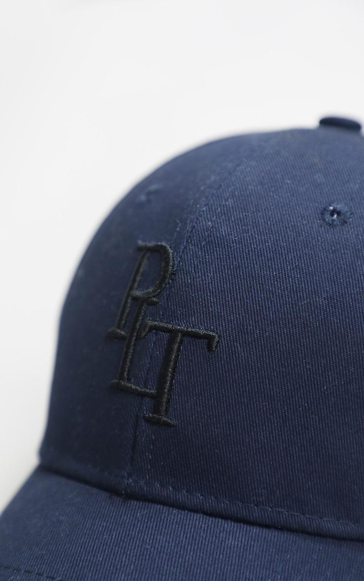PRETTYLITTLETHING Navy Monogram Baseball Cap 2