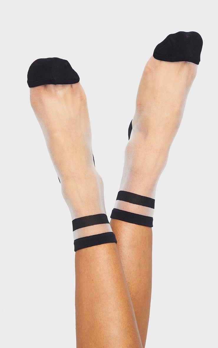 Black Stripe Mesh Ankle Socks 2