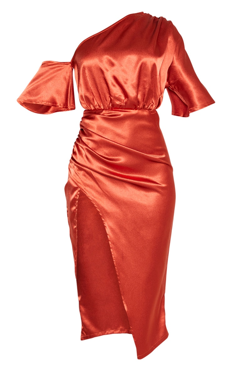 Rust Satin One Shoulder Ruched Skirt Midi Dress 3