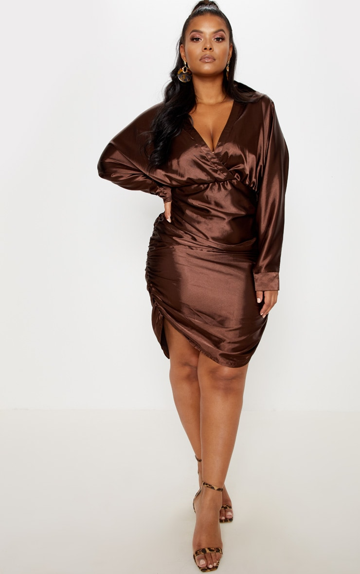 Chocolate Brown Ruched Side Midi Dress  1