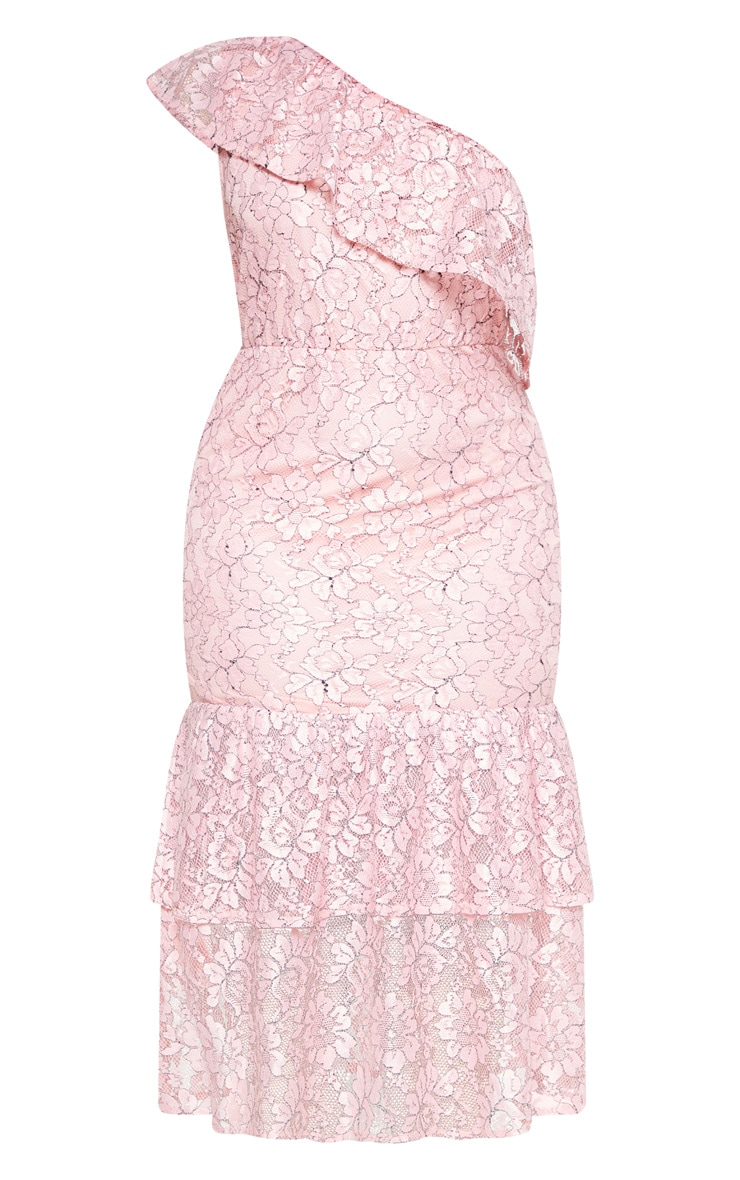 Plus Dusty Pink One Shoulder Lace Midaxi Dress 2