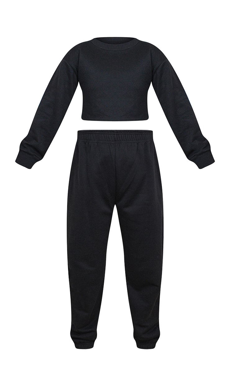 Petite Black Cropped Sweat and Jogger Set 5