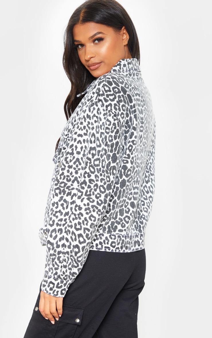 Mono Leopard Oversized Buckle Waist Denim Jacket  2