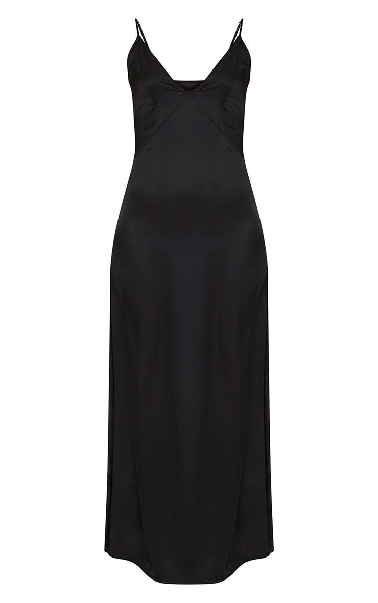 Carsia Black Silky Cami Slip Maxi Dress 3