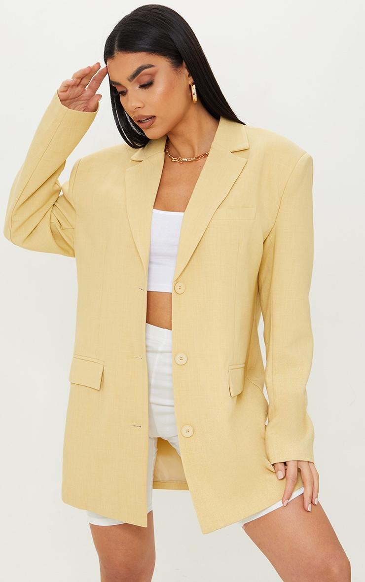 Yellow Premium Woven Shoulder Padded Grandad Blazer 1