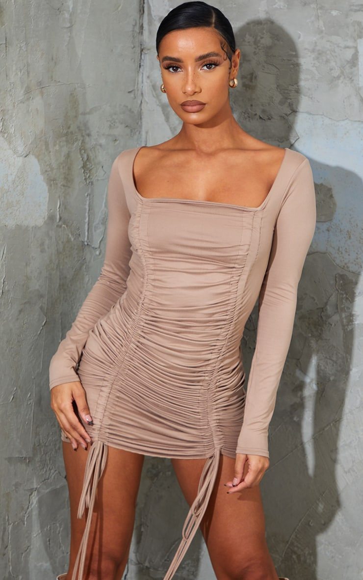 Taupe Soft Jersey Double Ruched Square Neck Bodycon Dress 1