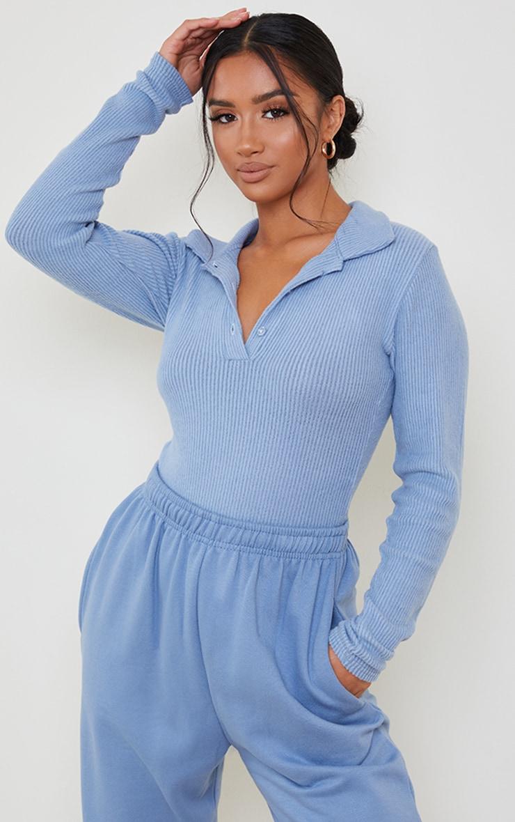 Petite Steel Blue Brushed Rib Polo Bodysuit 1