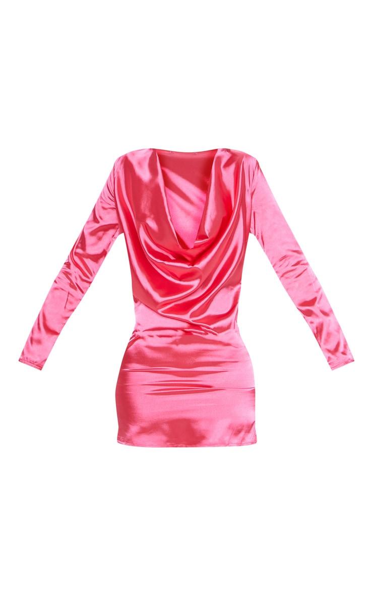 Hot Pink Satin Cowl Bodycon Dress Dresses