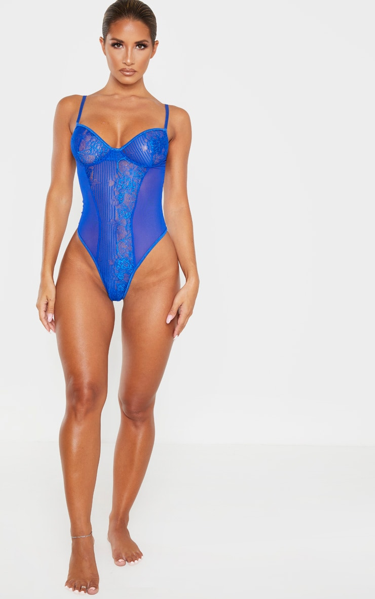 Cobalt Stripe Lace And Mesh Side Body 5
