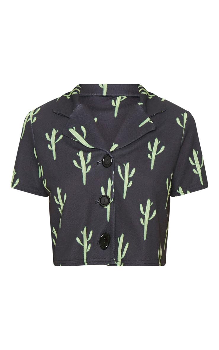 Black Cactus Print Crop Shirt 3