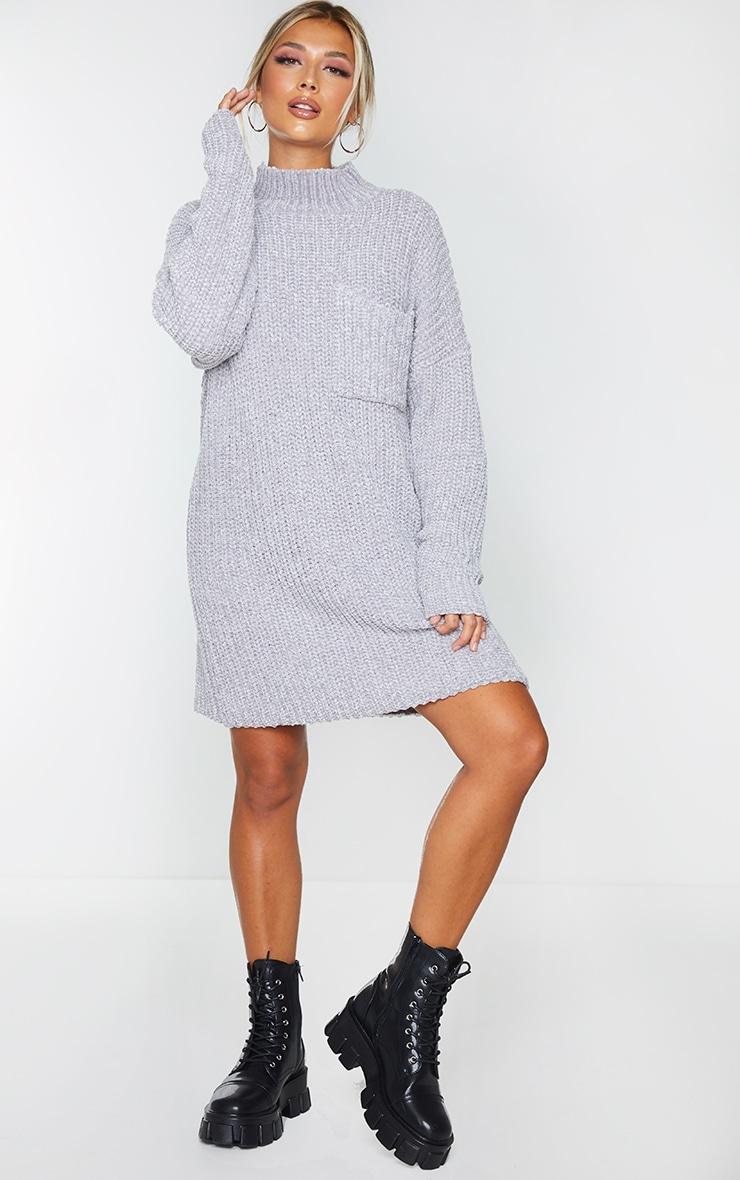 Light Grey Chenille Jumper Dress 3