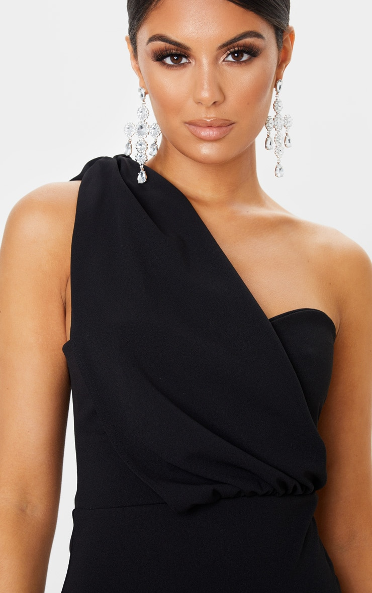 Black One Shoulder Draped Bodycon Dress 5