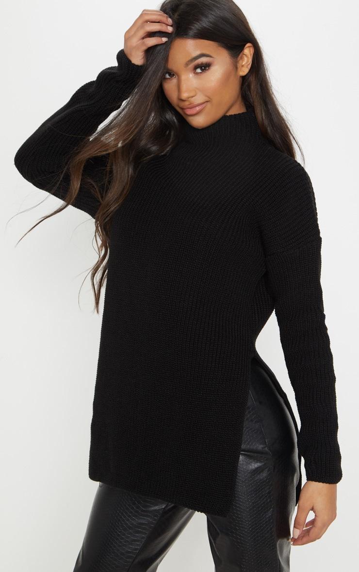 Black High Neck Knitted Side Split Jumper 2