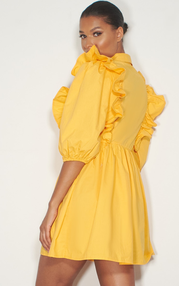 Yellow Ruffle Detail Puff Sleeve Smock Shirt Dress 2