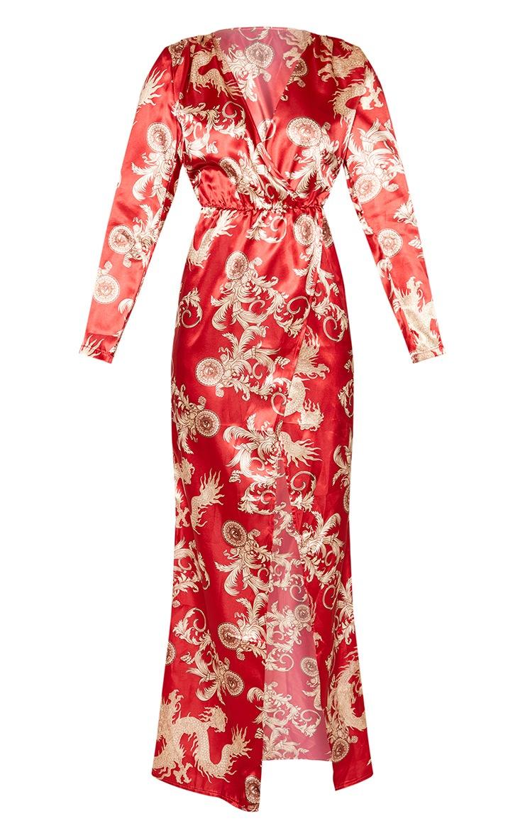 Red Dragon Print Satin Long Sleeve Wrap Maxi Dress 3
